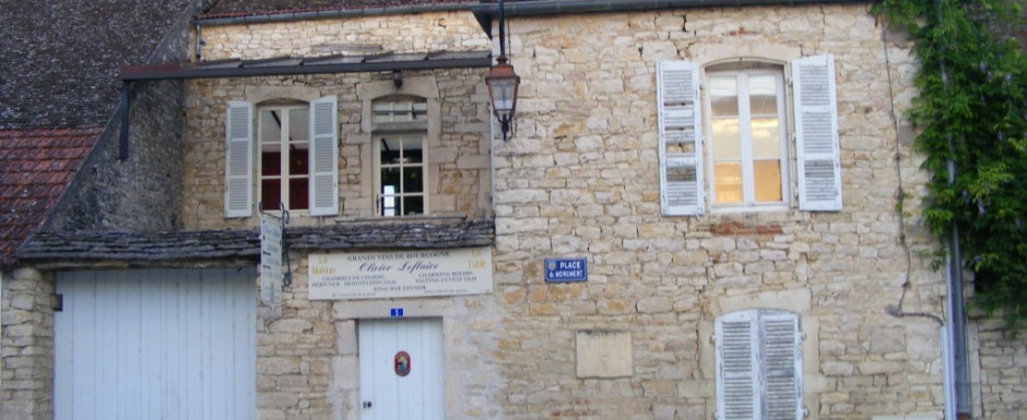 The old Olivier Leflaive tasting rooms, near our luxury vacation rental for six or 10 in Puligny Montrachet, near Beaune, Burgundy