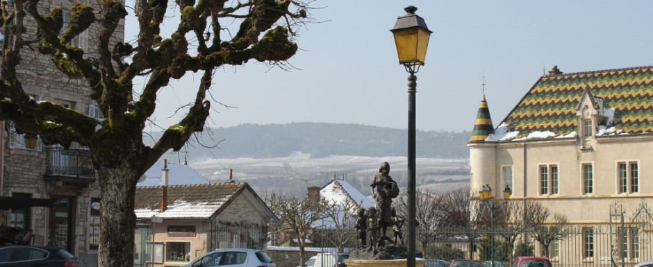 The beauty of the Burgundian roofs in Meursault are enhanced by a dusting of snow in winter