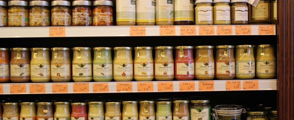 Dijon mustards - so many to try when you are near Beaune