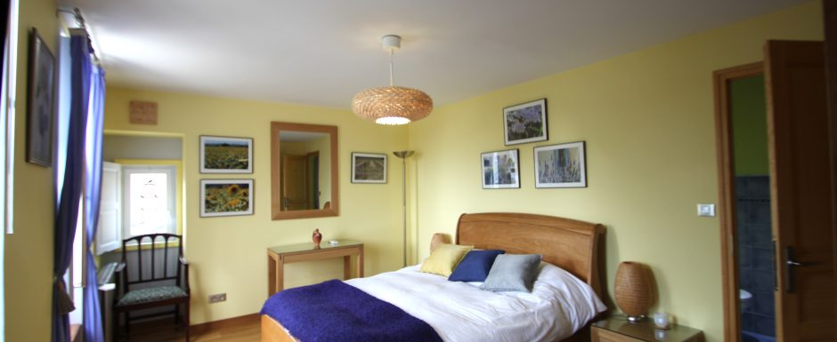 Summer bedroom at10pm, our luxury vacation rental in Puligny-Montrachet, near beaune, Burgundy