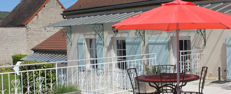 Terrace at 10pm, our luxury vacation rental in Puligny-Montrachet, near beaune, Burgundy