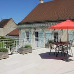 The terrace at our luxury vacation rental in Puligny Montrachet near Beaune, Burgundy